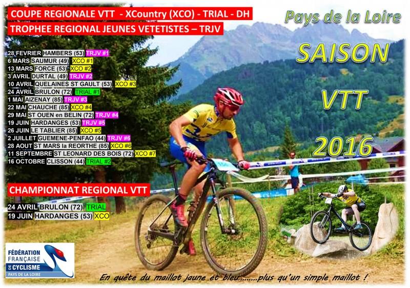 Calendrier Cycliste Pays De Loire 2021 Calendrier régional VTT 2016